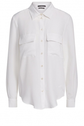 Set | Silk blouse with pockets Jane | white