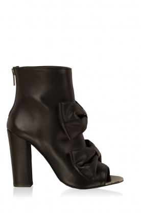 Morobé |  Leather peep-toe ankle boot Legano | black