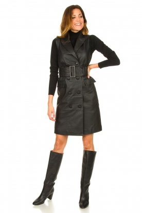 Look Leather gilet dress Brooklyn