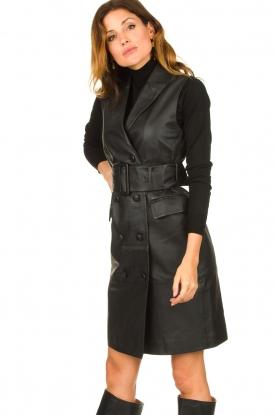 Set |  Leather gilet dress Brooklyn | black