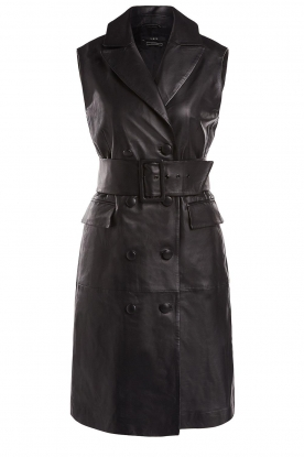 Set | Leather gilet dress Brooklyn | black