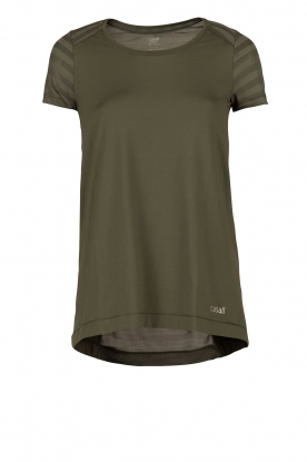 Sports Top Sheer Mesh Tee | khaki