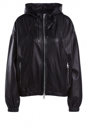 Set | Leather bomber jacket with hoodie Bingo | black