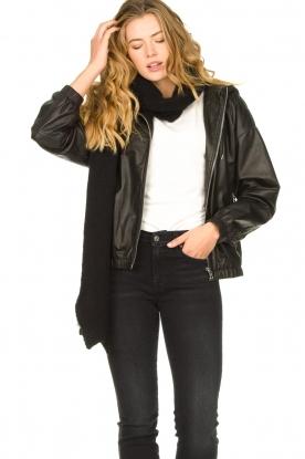 Set |  Leather bomber jacket with hoodie Bingo | black