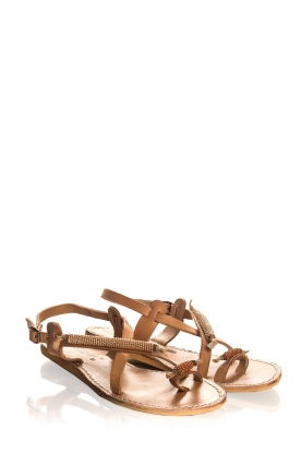 Laidback London |Leather sandals Fay | camel