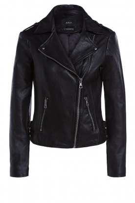 Set | Leather biker jacket with back details Zoe | black