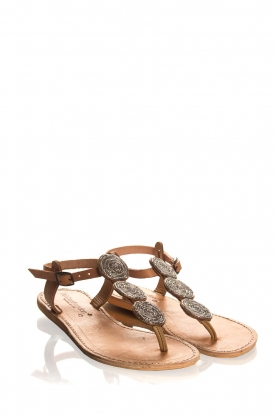 Laidback London |Leather sandals Emma | brown