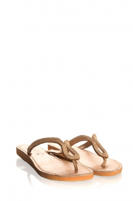 Laidback London | Leather sandals Ivy | gold