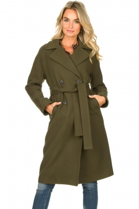 Set |  Coat with belt Manhattan | green