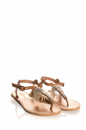 Laidback London | Leather sandals Tess | silver
