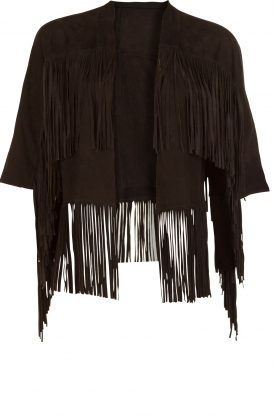 DAY Birger et Mikkelsen |  Leather fringe jacket Makkah | black