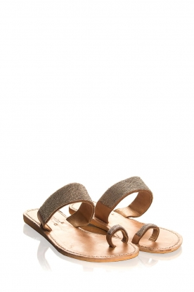Laidback London | Leather sandals Kate | silver
