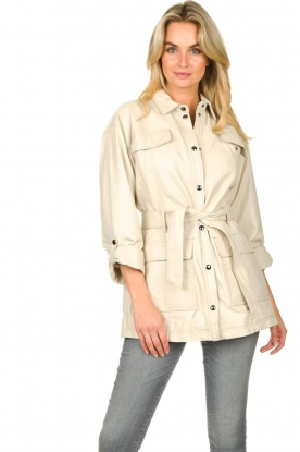 STUDIO AR BY ARMA | Leather blouse jacket Axelle | beige