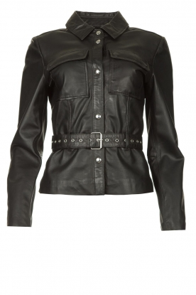 STUDIO AR BY ARMA |  Leather blouse jacket Aimy | black