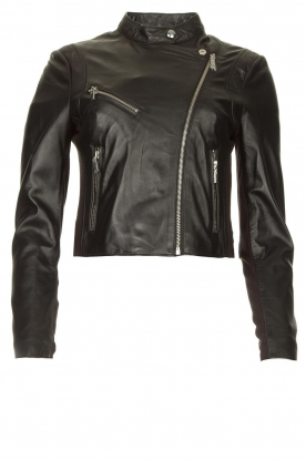STUDIO AR BY ARMA | Short leather biker jacket Gaga | black