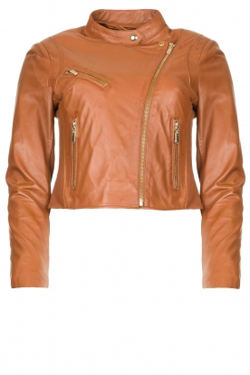 STUDIO AR BY ARMA | Short leather biker jacket Gaga | camel