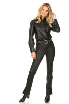 STUDIO AR BY ARMA | Leren broek met zijsplit Evita | zwart