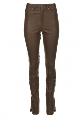 STUDIO AR BY ARMA |  Leather pants with side split Evita | brown
