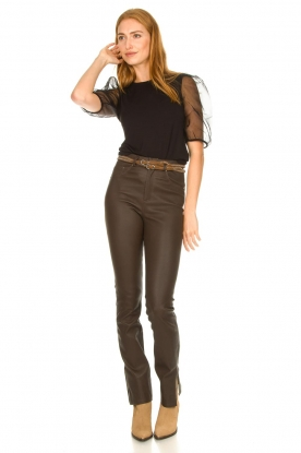Look Leather pants with side split Evita