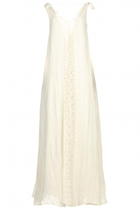 Hipanema | Maxi dress with embroideries and lurex stripes Fernanda | white