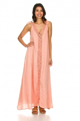 Hipanema |  Maxi dress with embroideries and lurex stripes Fernanda | pink