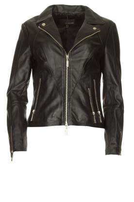 STUDIO AR BY ARMA |  Leather biker jacket Cherry | black