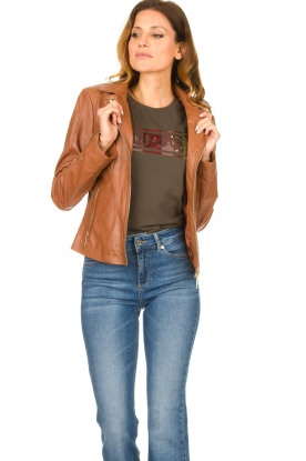 STUDIO AR BY ARMA |  Leather biker jacket Cherry | camel