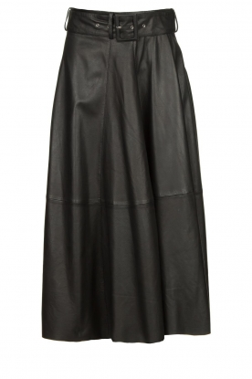 STUDIO AR BY ARMA |Belted leather midi skirt Romee | black