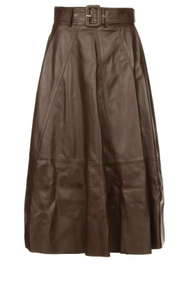 STUDIO AR BY ARMA |Belted leather midi skirt Romee | brown