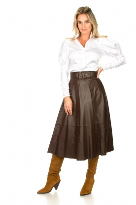 Look Belted leather midi skirt Romee