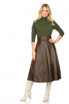 Look Belted leather midi skirt Romee