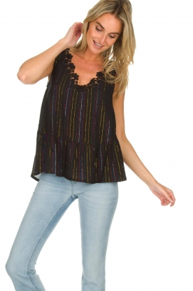 Hipanema |  Lurex striped top Erin | black