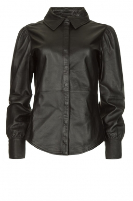 STUDIO AR BY ARMA |  Leather puff sleeve blouse Jade | black