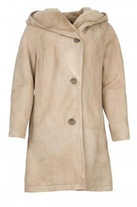STUDIO AR BY ARMA |  Leather lammy coat Babina | taupe