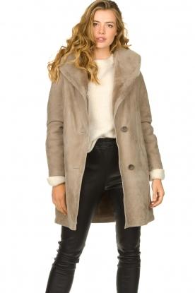 STUDIO AR BY ARMA |  Leather lammy coat Babina | taupe
