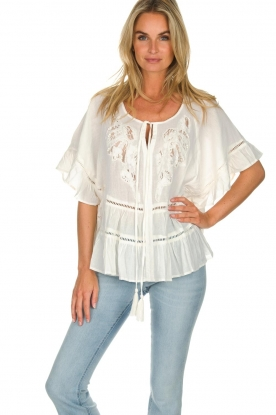Hipanema |  Ruffle blouse Voltige | white