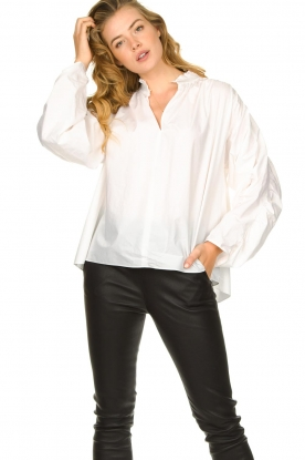 Second Female |  Blouse with open collar Addison | white