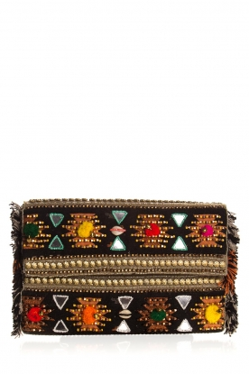 Hipanema |  Beaded clutch with fringes Pirogue | black