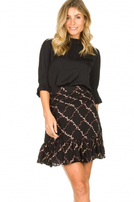 Second Female |  Lurex print skirt Louis | black