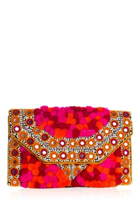 Hipanema |  Beaded clutch with pom poms Mexicane | pink