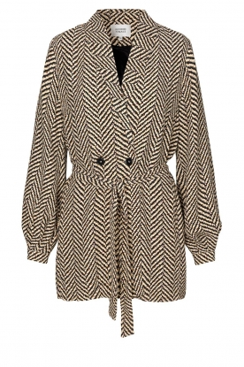 Second Female | Printed coat Choco | black