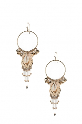 Hipanema |  14k gold plated earrings with shell bead Karibe | white