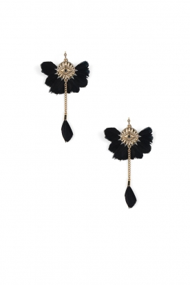 Hipanema |  14k gold plated feather earrings Yucatan | black