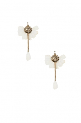 Hipanema |  14k gold plated feather earrings Yucatan | white