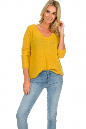 Des Petits Hauts |  Knitted sweater Adao | ochre yellow