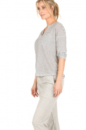 Set | Linnen top Cori | wit/blauw