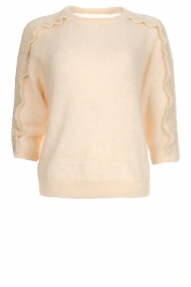Des Petits Hauts |  Sweater with ruffles along the sleeves Adelphe | natural