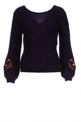 Des Petits Hauts |  Knitted embroidered sweater Anasthase | blue