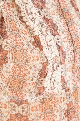 Set | Semi-sheer blouse Charlotte | bruin