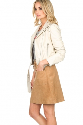 Set | Leren bikerjacket Paige | naturel